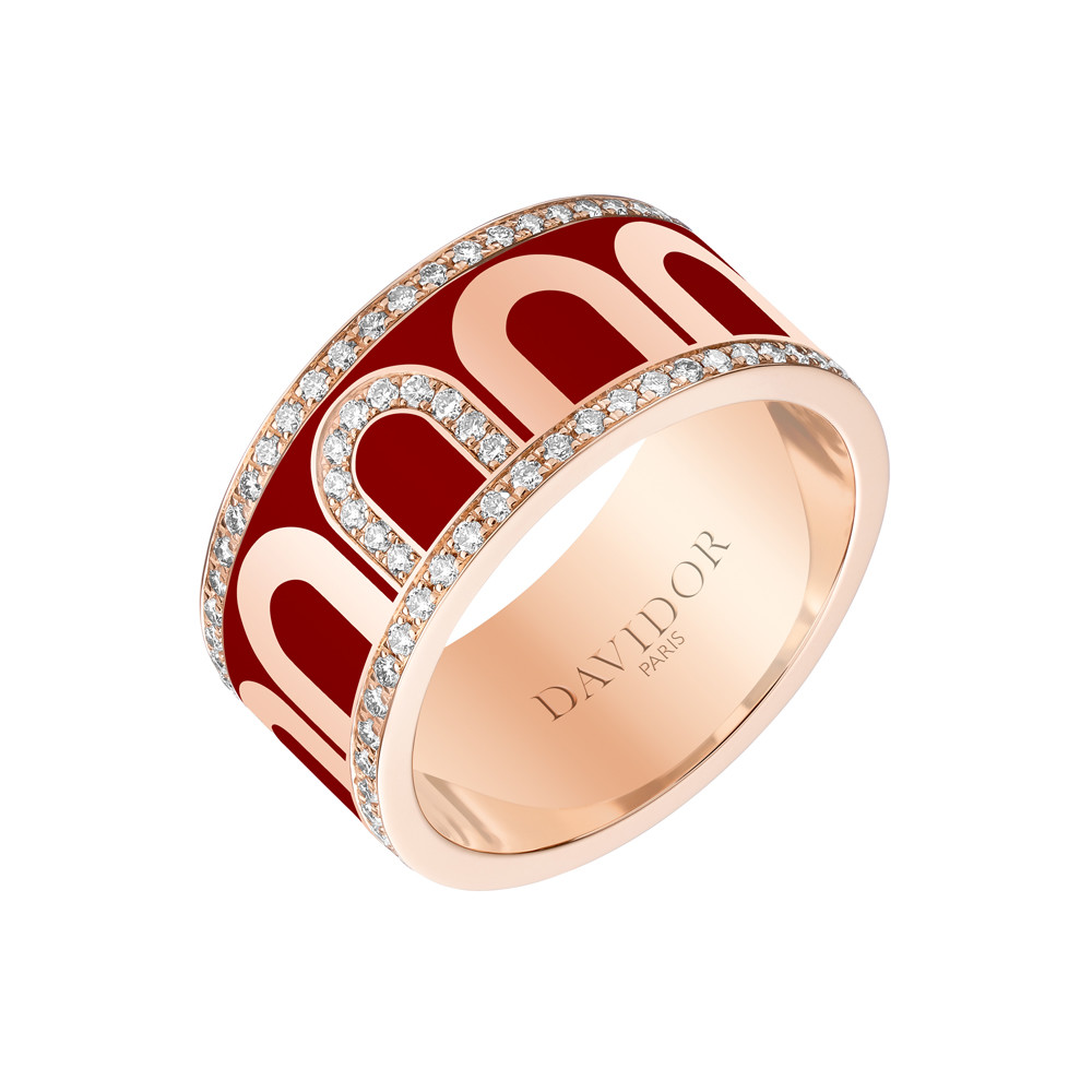 "18k Rose Gold, Diamond & Bordeaux Lacquer ""L'Arc"" Band"