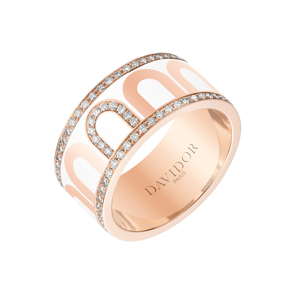 "18k Rose Gold, Diamond & Neige Lacquer ""L'Arc"" Band"