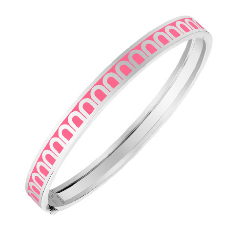 "Small 18k White Gold & Pink Lacquer ""L'Arc"" Bangle Bracelet"