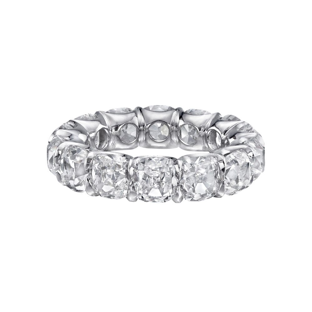 Diamond Eternity Band Ring Mounted In A Shared G U Style Platinum Setting With Sculpted Edge Four Cushion Cut Diamonds Weighing 10 85 Total