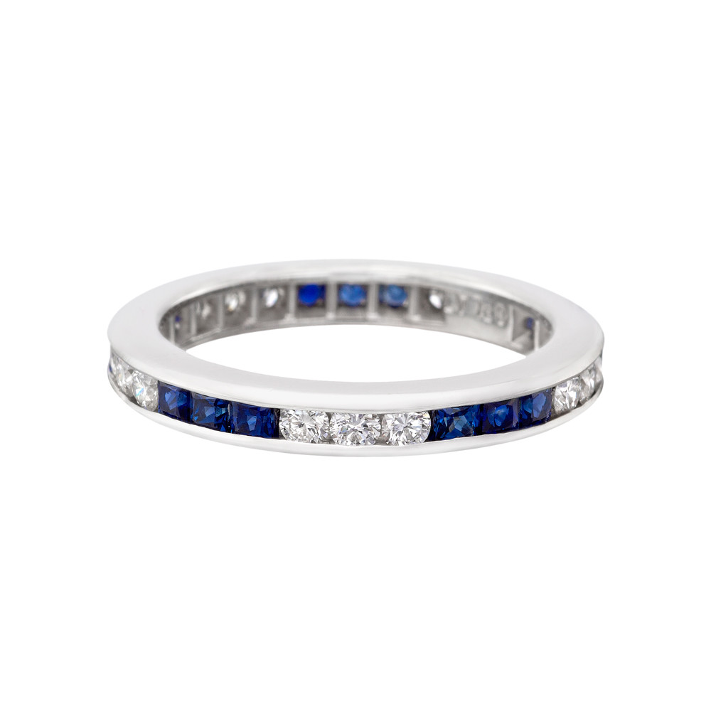 band diamond bands blue eternity sapphire