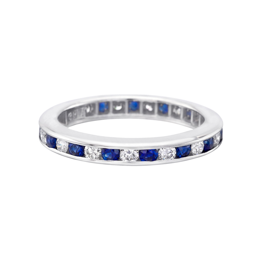 sapphire band diamond halo long s bands products anniversary platinum eternity jewelers