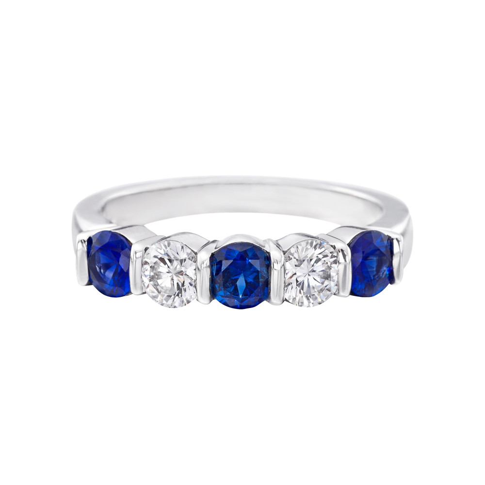 Sapphire & Diamond Five-Stone Band Ring