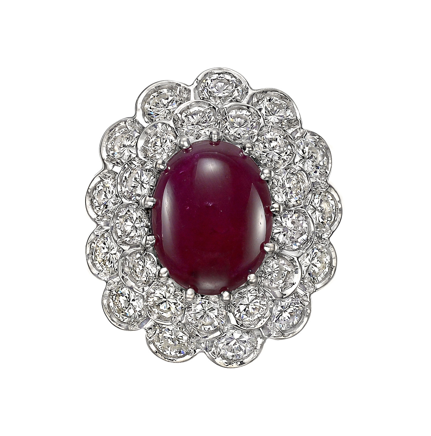 Ruby & Diamond Cluster Cocktail Ring