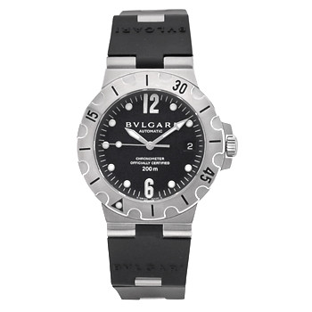 d1555b64569 Pre-owned Bulgari Diagono Scuba wristwatch (ref. SD38S) features a  mechanical automatic movement  black dial with date display at 3 o clock   center seconds ...
