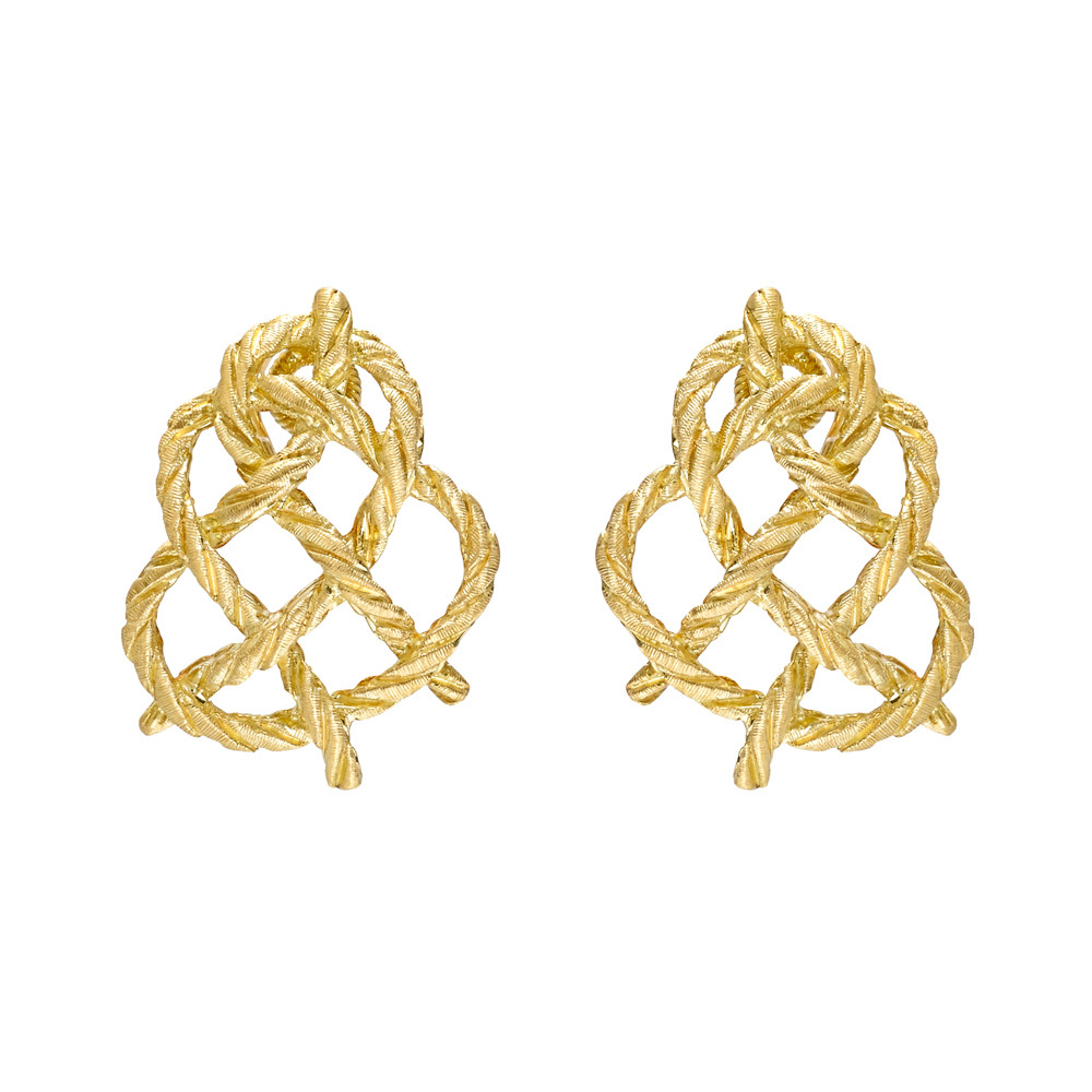 "18k Yellow Gold ""Crepe de Chine"" Knot Earrings"