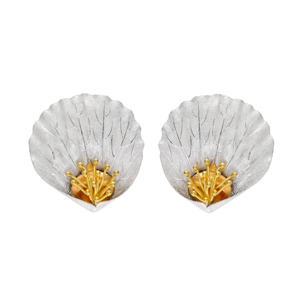 18k Tri-Colored Gold Magnolia Petal Earclips
