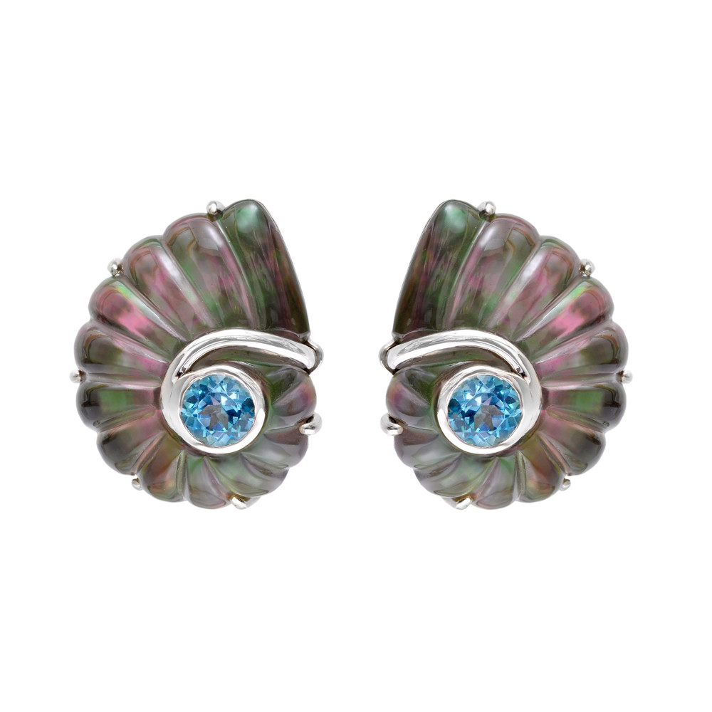 Rock Crystal Nautilus Shell Earclips with Blue Topaz