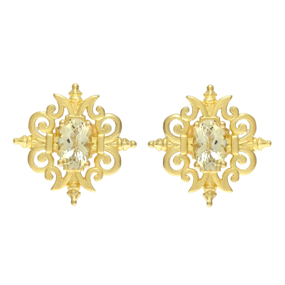 zirconia cubic round earrings gold citrine cz yellow products stud prong set