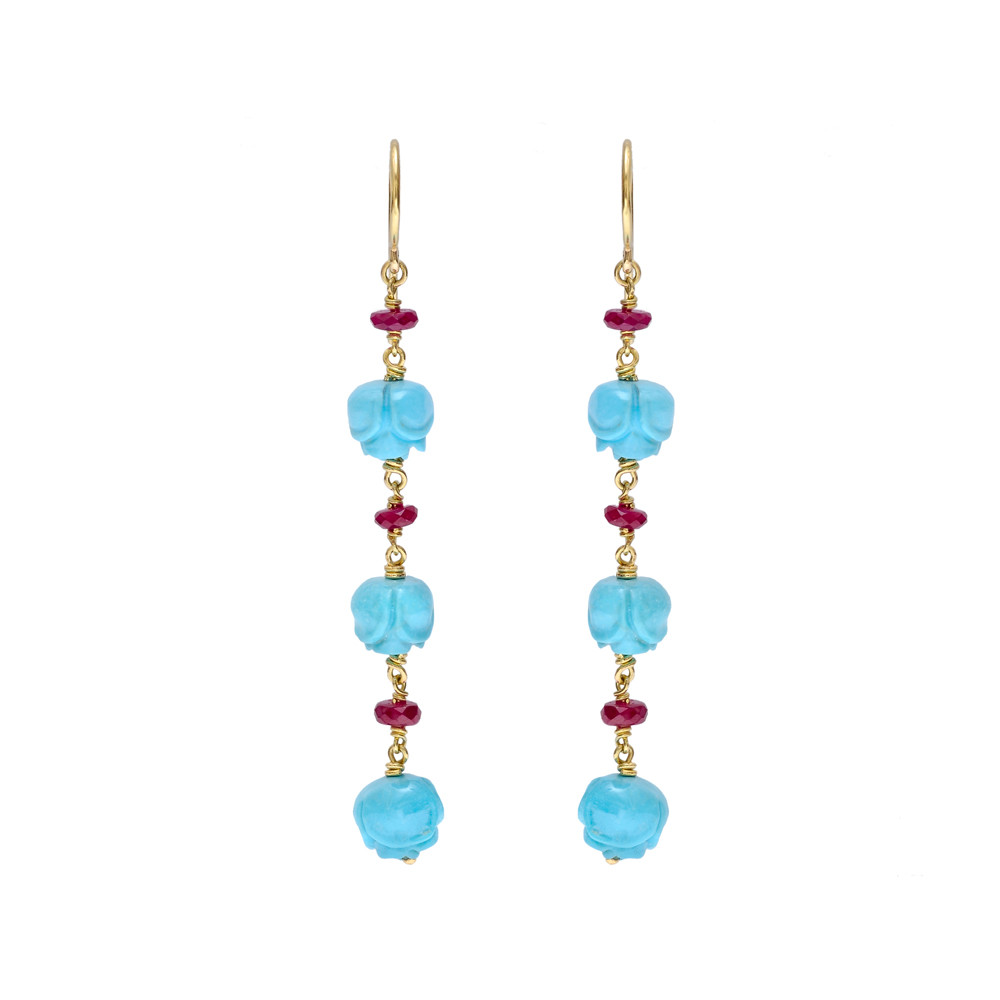 Carved Turquoise And Ruby Bead Drop Earrings In 18k Yellow Gold With French Wire Backs The Beads Are Shape Of A Rose