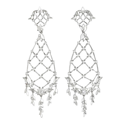 Diamond Laurel Leaf Chandelier Earrings