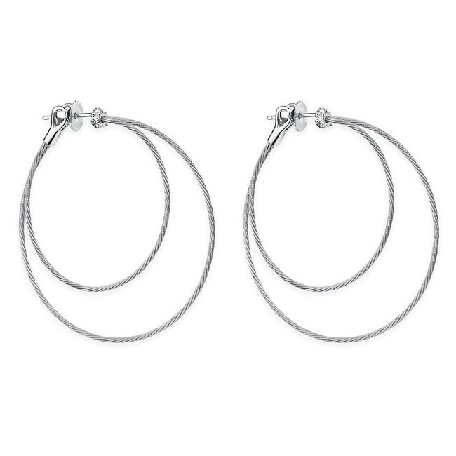 "18k White Gold & Diamond Double ""Unity"" Hoop Earrings"