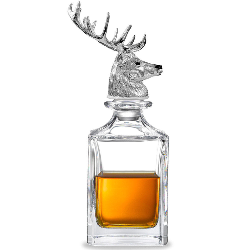 Stag Head Crystal Glass Decanter