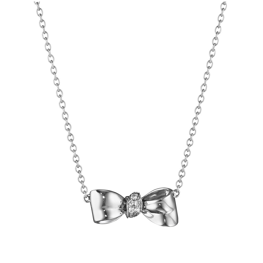 Extra Small 18k White Gold & Diamond Bow Pendant Necklace