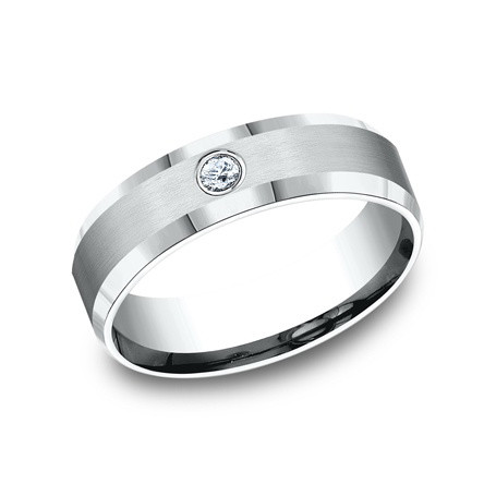 14k White Gold & Diamond Wedding Band (6mm)