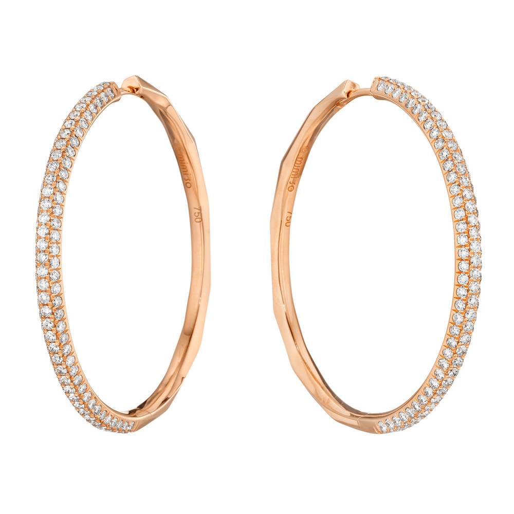 Large Pavé Diamond Oval Hoop Earrings In 18k Rose Gold Three Rows Of Diamonds Set To The Front With Faceted Polished Backs