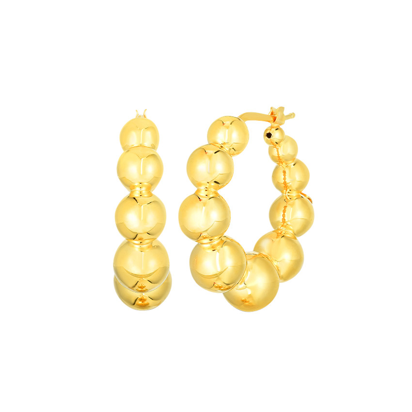 "Small 18k Yellow Gold ""Oro"" Beaded Hoop Earrings"