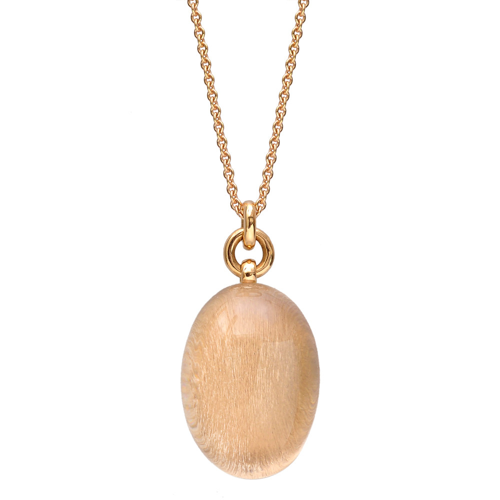 Rock Crystal & 18k Rose Gold Pendant