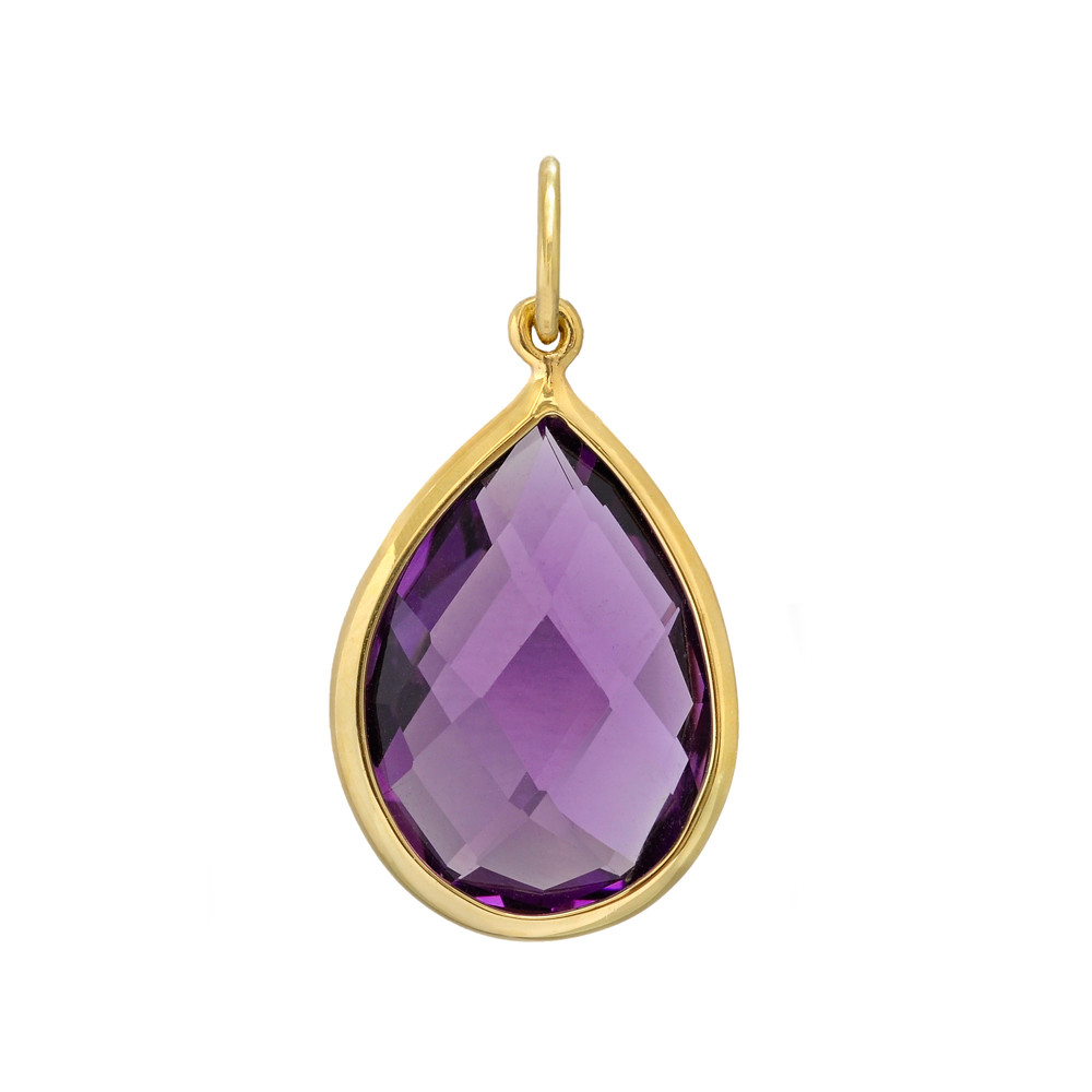 Pear shaped faceted amethyst 18k gold pendant betteridge pear shaped faceted amethyst 18k gold pendant mozeypictures Gallery