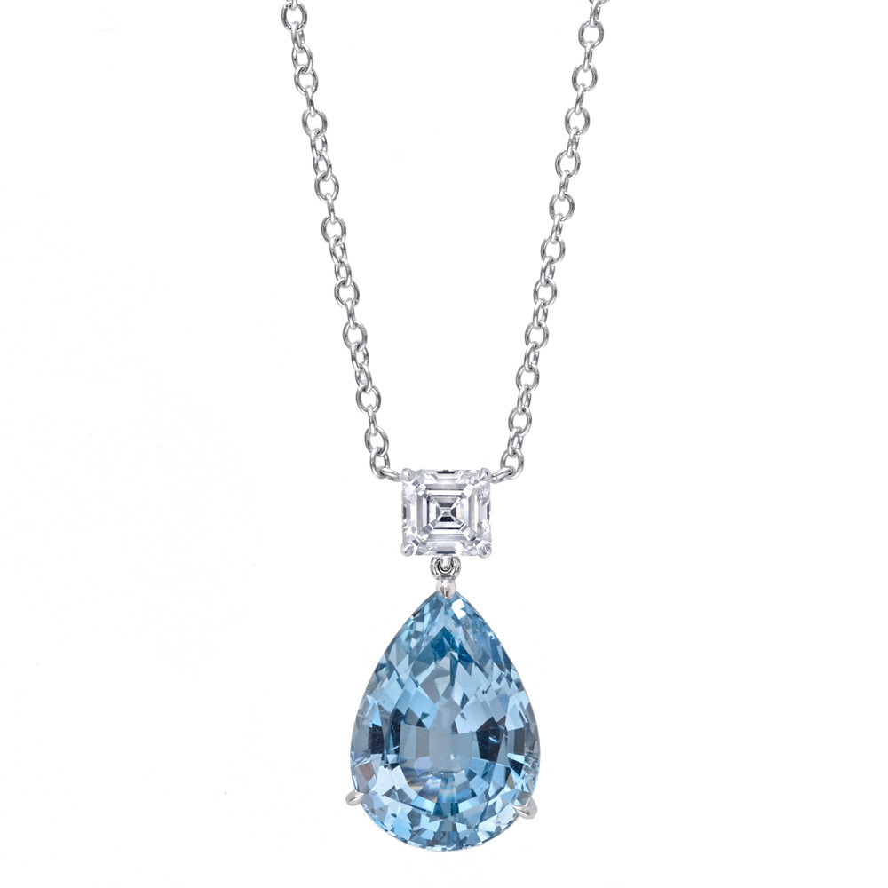 Aquamarine diamond drop pendant betteridge aquamarine diamond drop pendant aloadofball Image collections