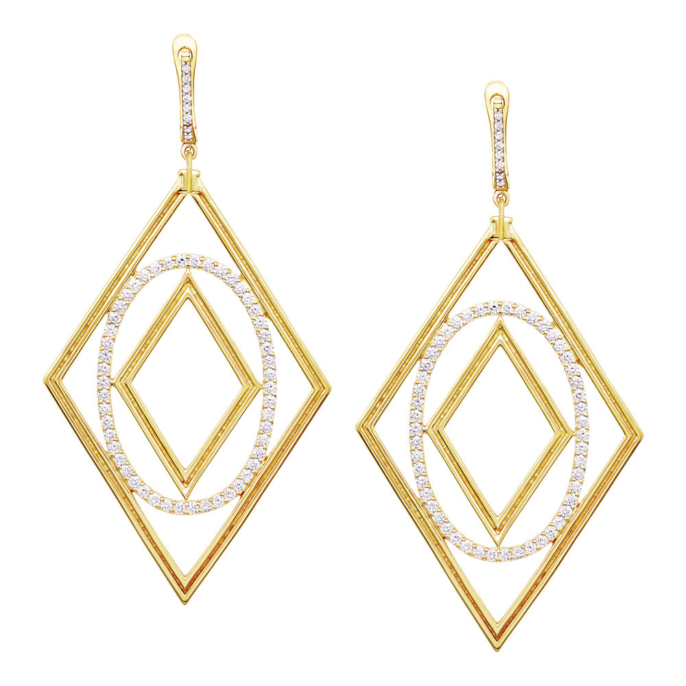 "18k Yellow Gold & Diamond ""Affinity"" Drop Earrings"
