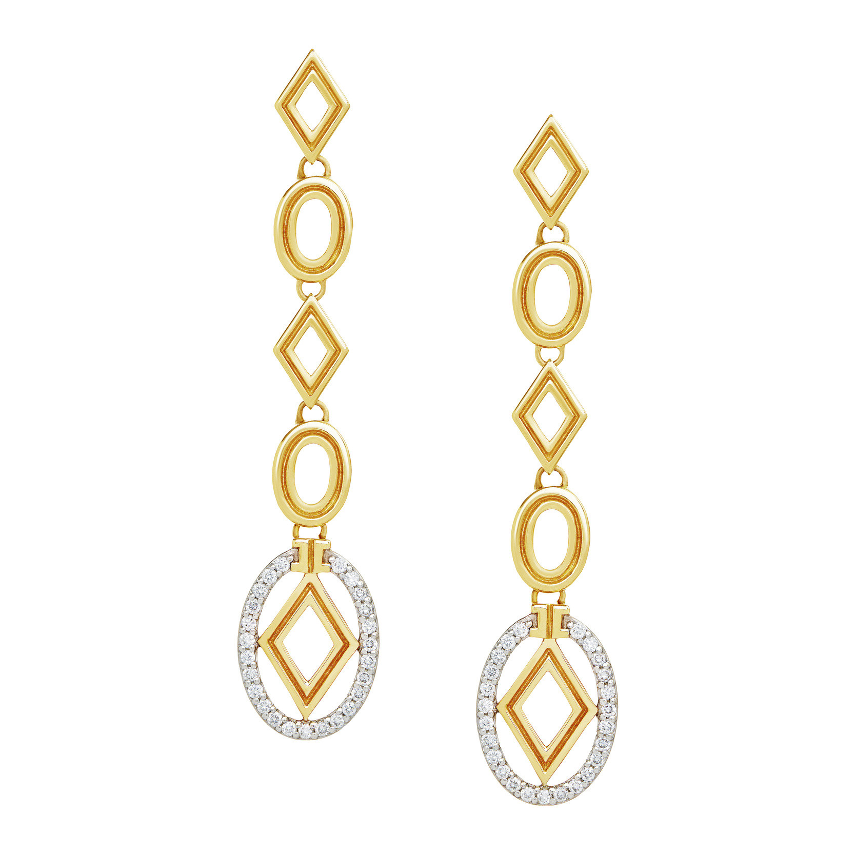 "18k Gold & Diamond ""Affinity"" Long Link Drop Earrings"