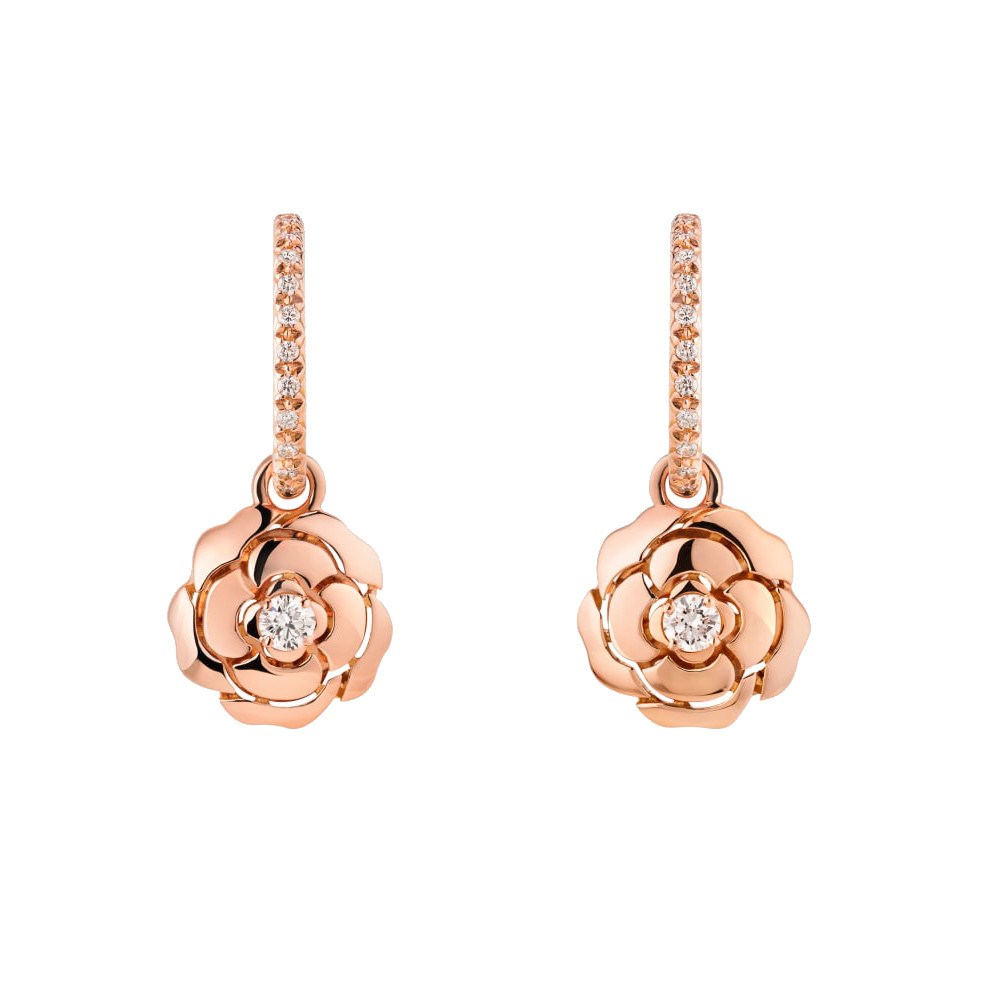 18k Rose Gold & Diamond Extrait de Camélia Drop Earrings