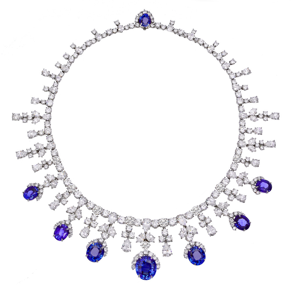 Estate Harry Winston Sapphire Amp Diamond Fringe Necklace