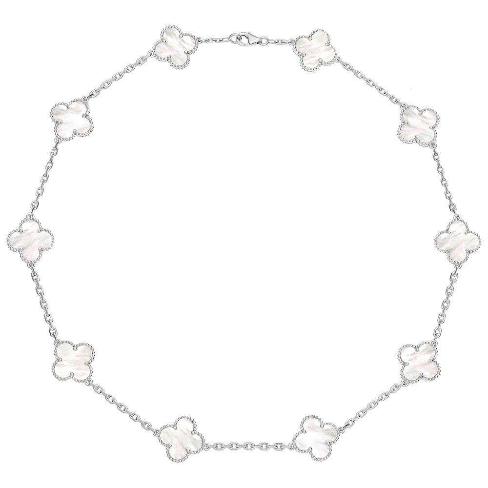 Van Cleef And Arpels Mother Of Pearl Necklace: Estate Van Cleef & Arpels 18k White Gold & Mother-of-Pearl