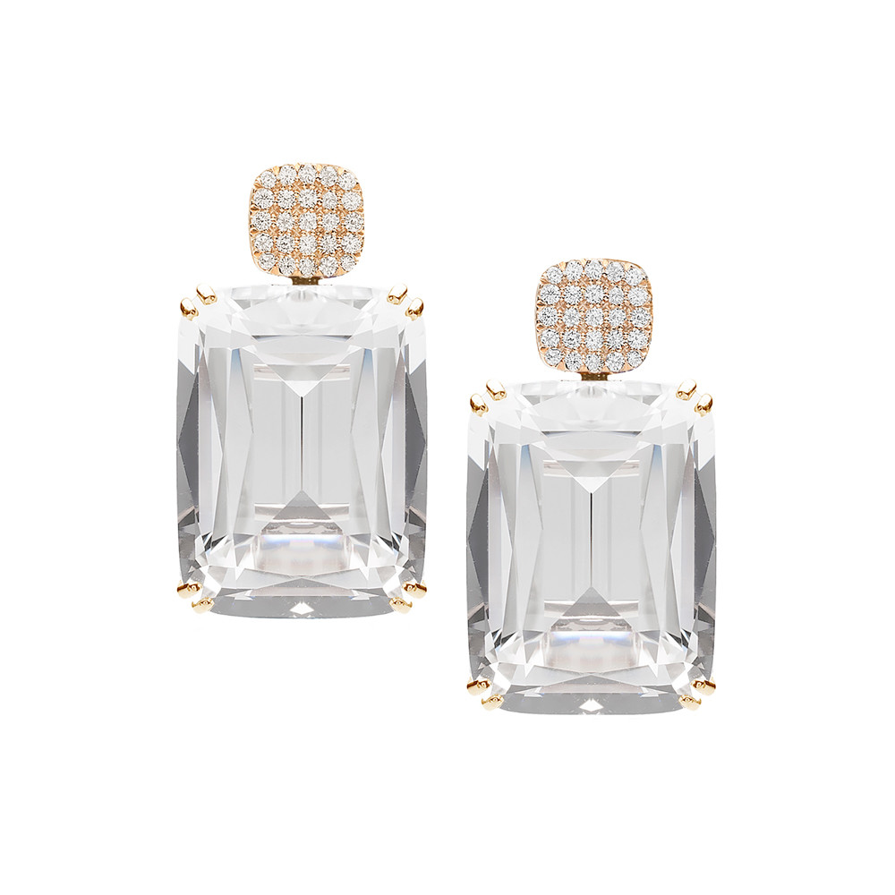 Rock Crystal & Diamond Drop Earrings