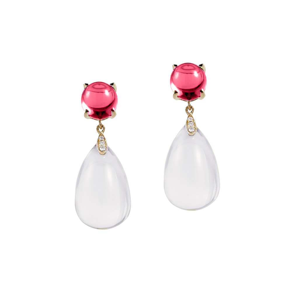 Rock Crystal & Rubellite Drop Earrings