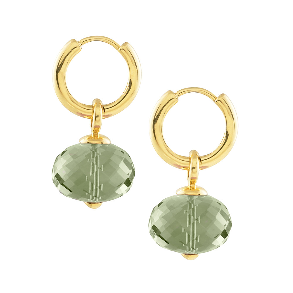 Faceted Prasiolite Bead Hoop Drop Earrings