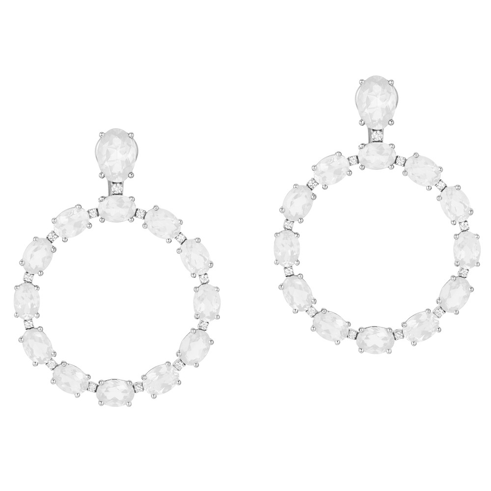 Moon Quartz & Diamond Hoop Drop Earrings