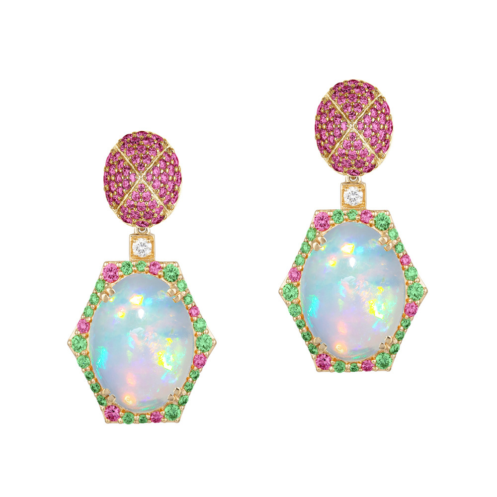 Opal, Pink Sapphire & Tsavorite Garnet Drop Earrings
