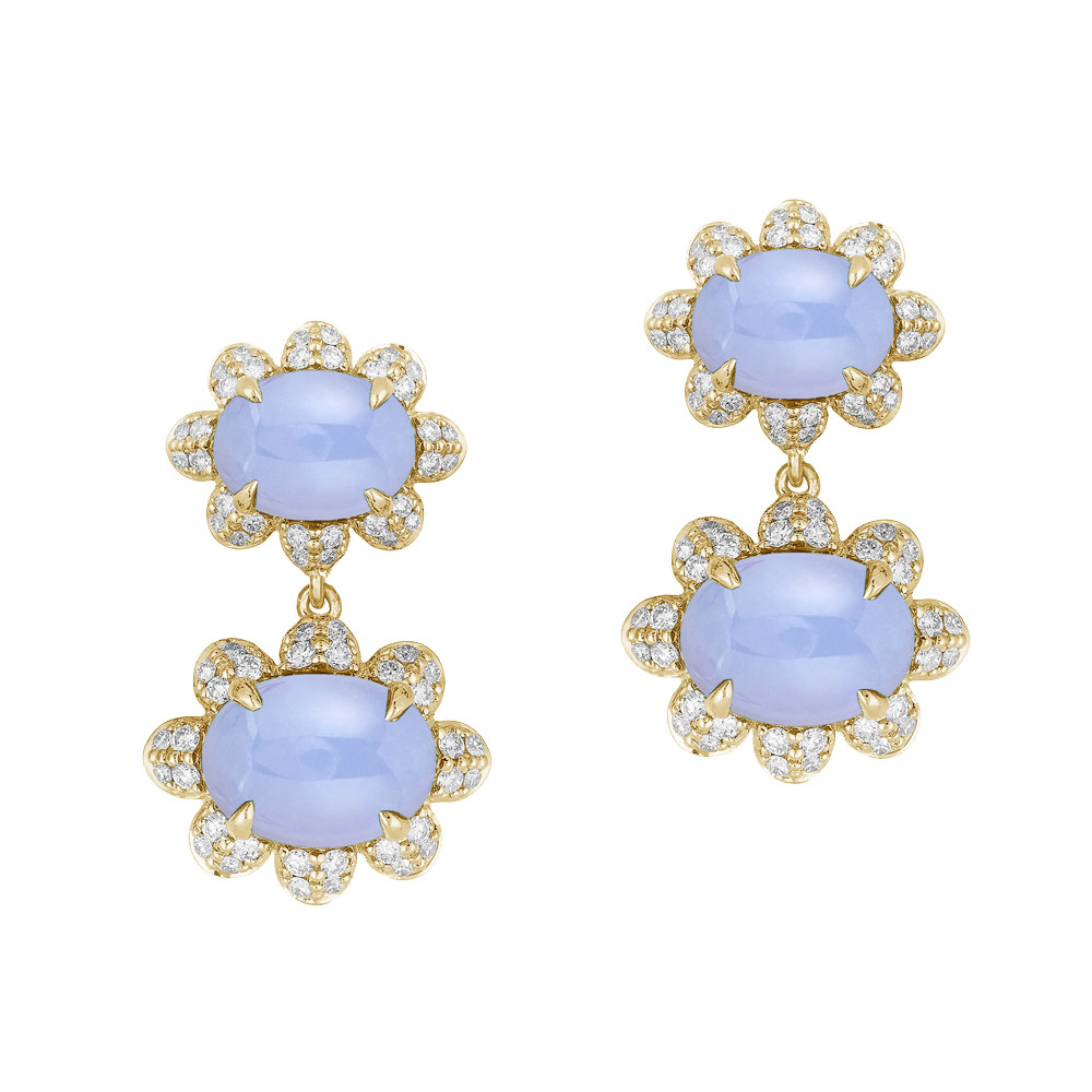 Cabochon Chalcedony & Diamond Double-drop Earrings