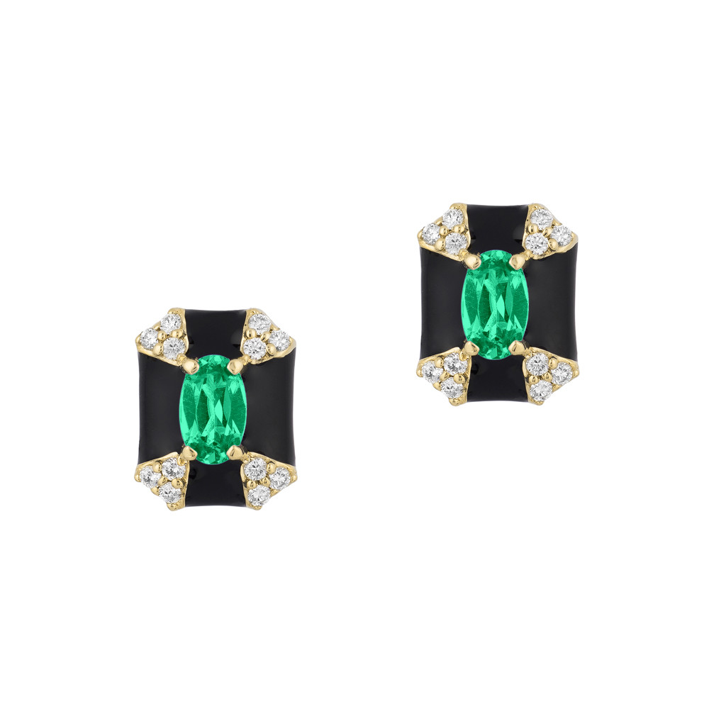 Emerald, Diamond & Black Enamel Stud Earrings