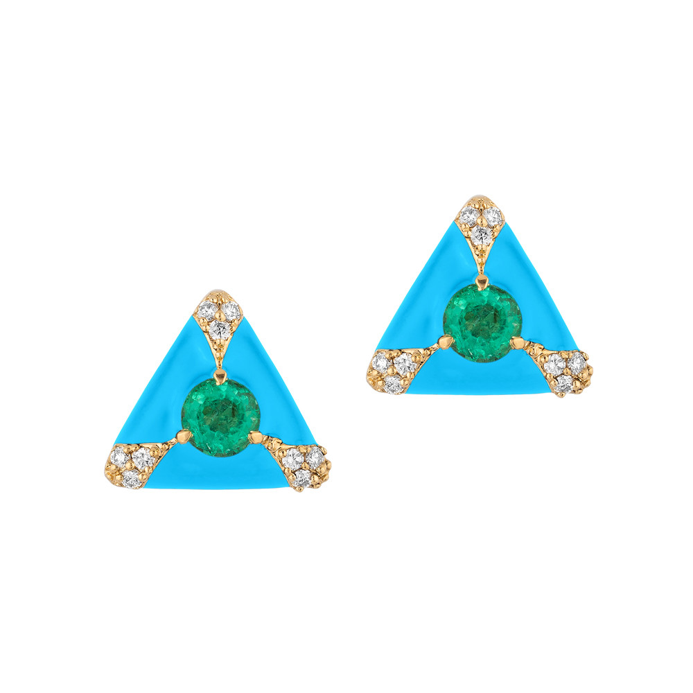 Emerald, Diamond & Turquoise Enamel Stud Earrings