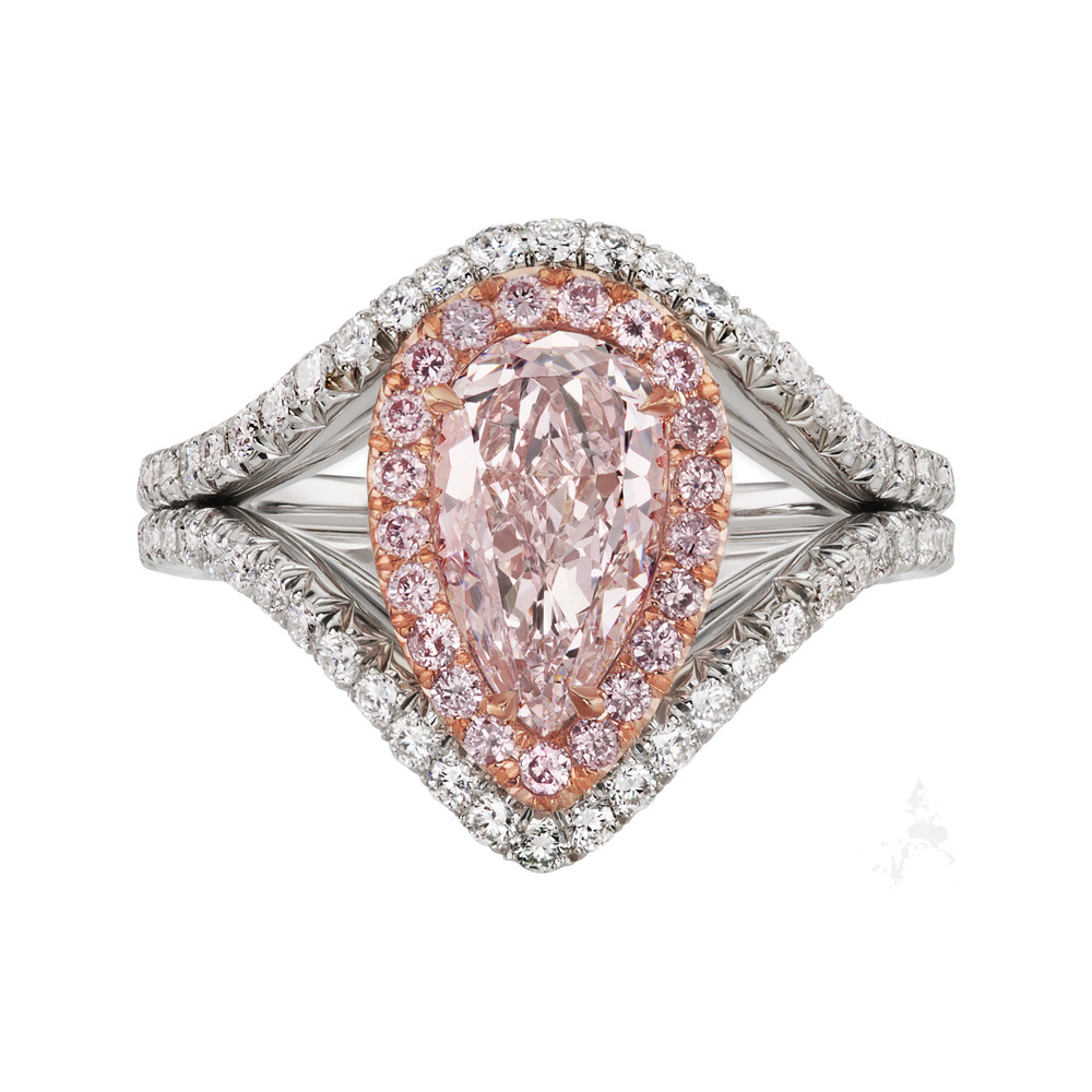 Pear-shaped Pink Diamond Double-Halo Ring