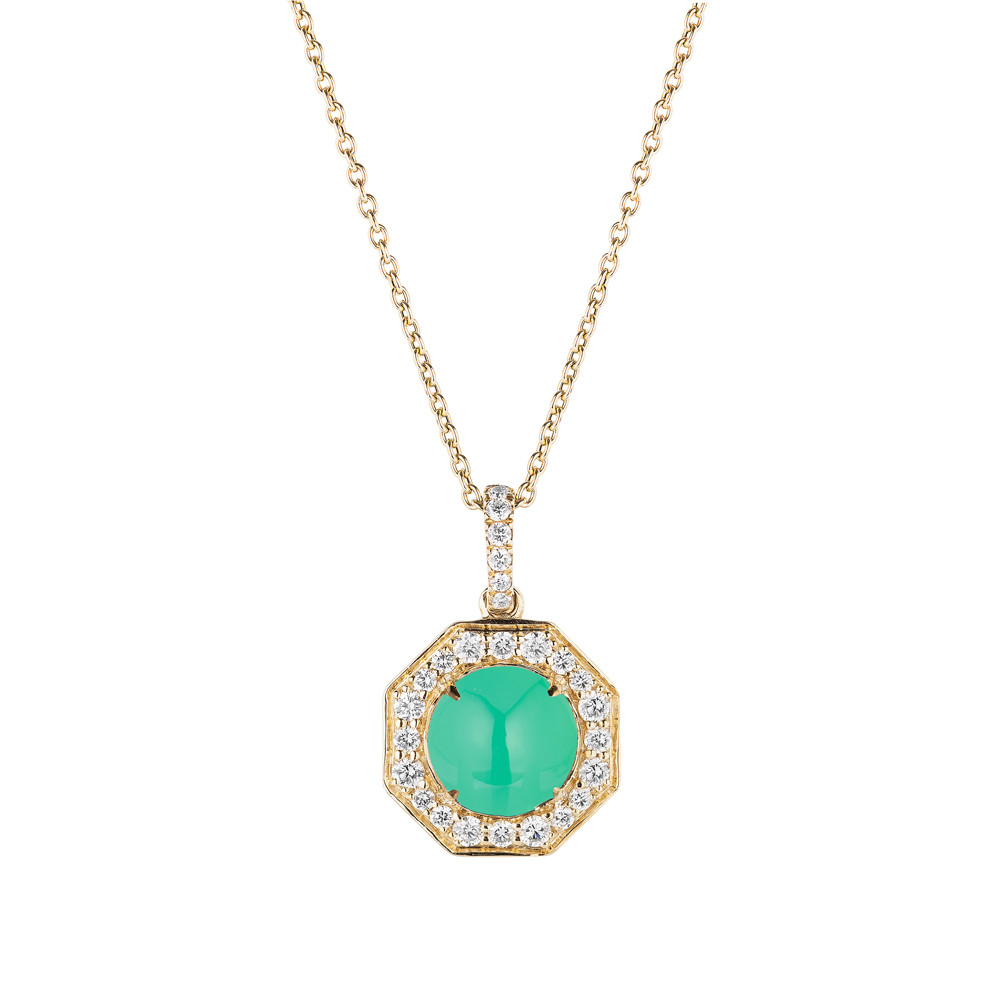 Chrysoprase & Diamond Octagonal Pendant Necklace