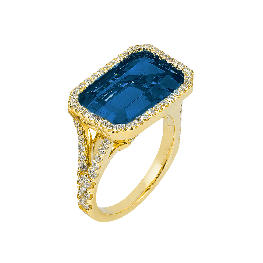 London Blue Topaz & Diamond Cocktail Ring