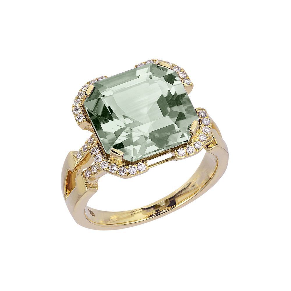 Prasiolite & Diamond Cocktail Ring