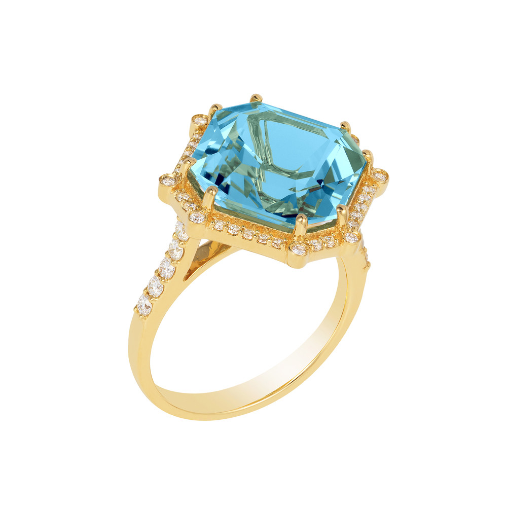 Octagonal Blue Topaz & Diamond Cocktail Ring