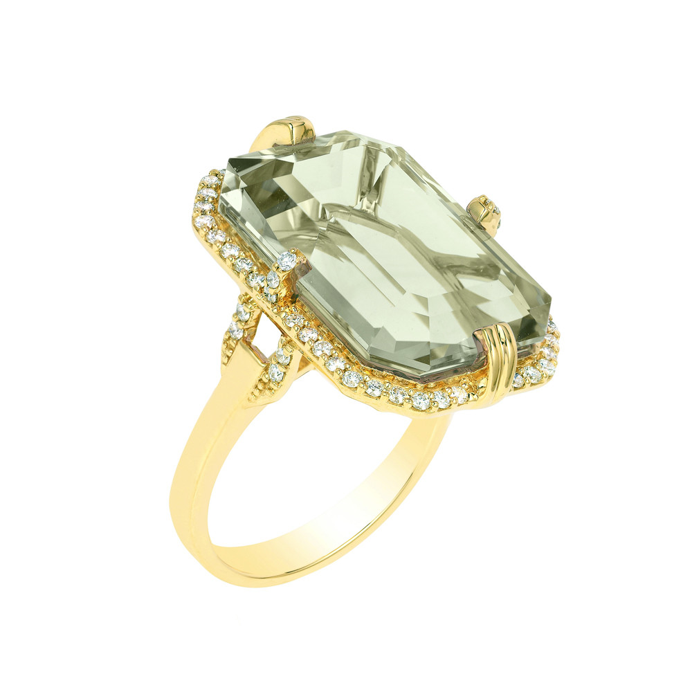 Large Emerald-Cut Prasiolite & Diamond Ring