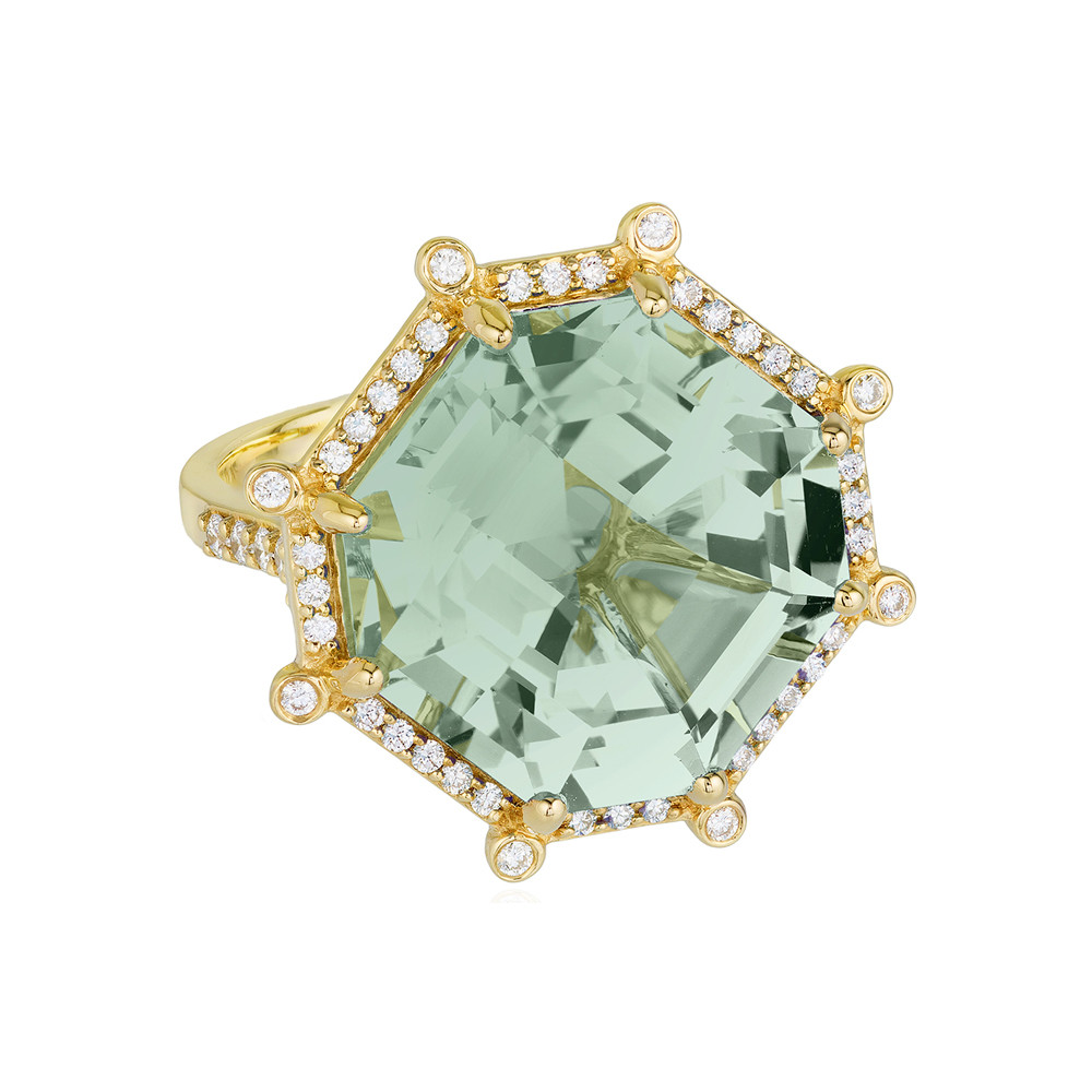 Large Octagonal-Cut Prasiolite & Diamond Ring
