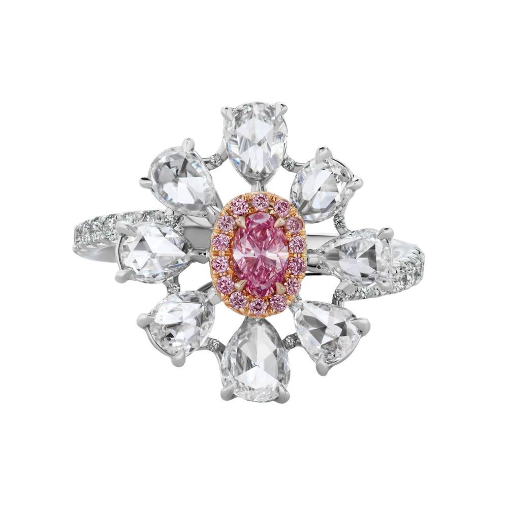 Argyle Pink & White Diamond Flower Ring