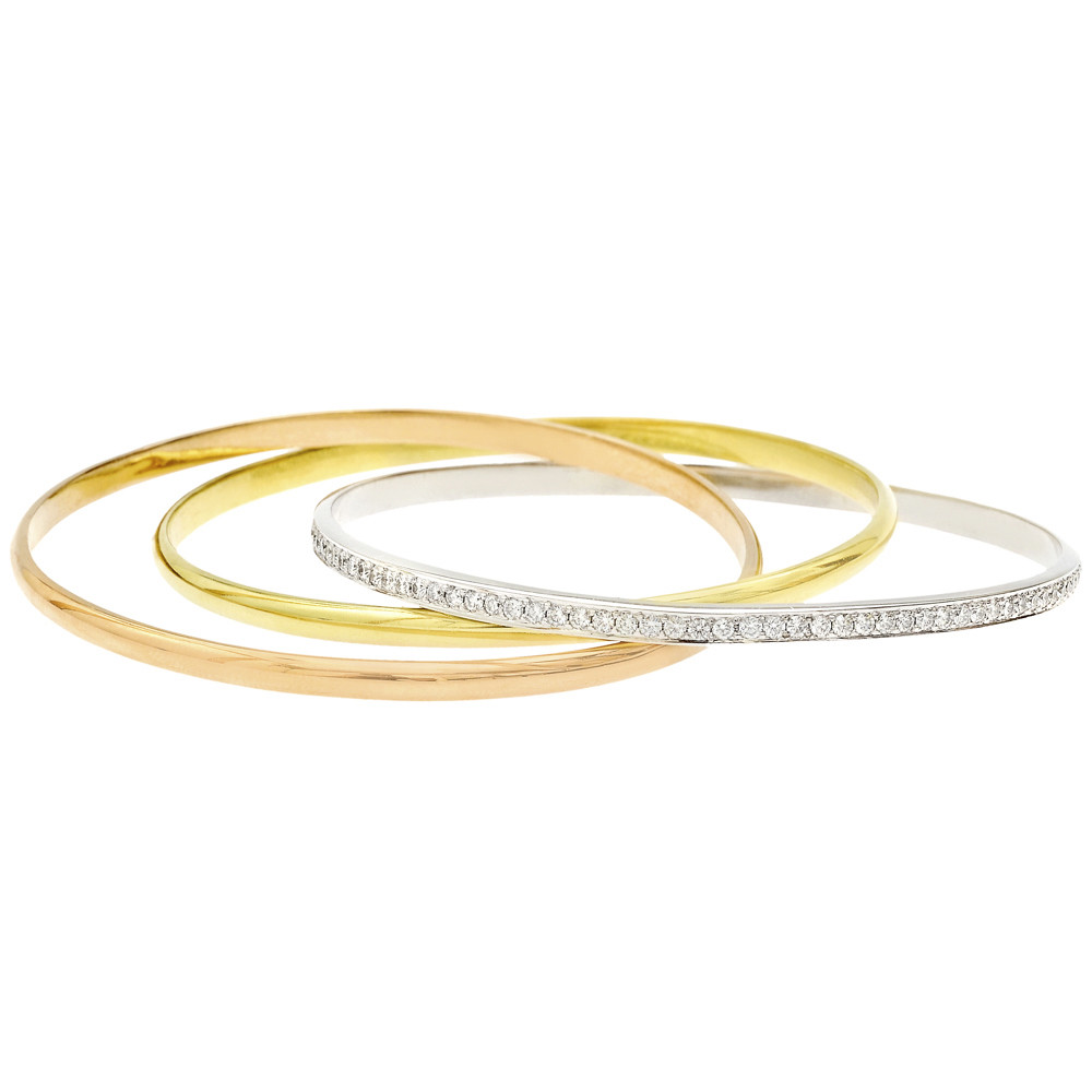 18k Tri-Colored Gold & Diamond Rolling Bangle