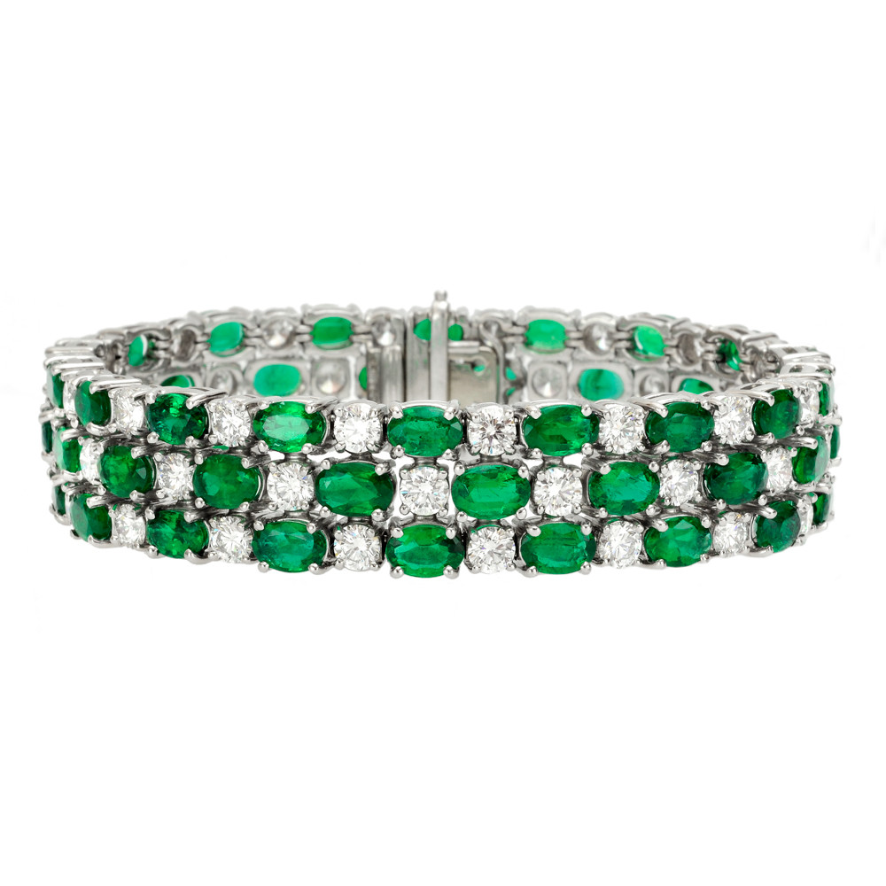 betteridge 3row emerald amp diamond bracelet betteridge