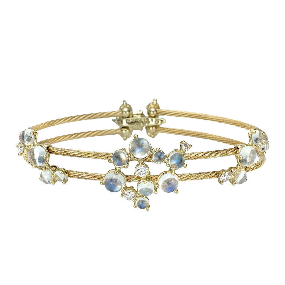 "Moonstone & Diamond Double ""Unity"" Bracelet"