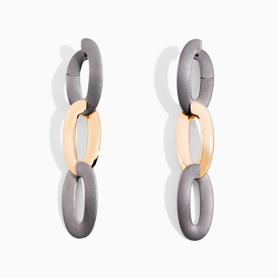 "Rose Gold & Titanium ""Olimpia"" 3-Drop Earrings"
