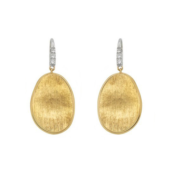 "18k Gold & Diamond ""Lunaria"" Drop Earrings"